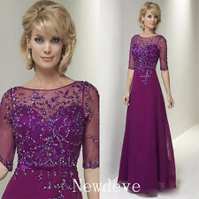Mother of the Bride Dresses Crystals Beads Fuchsia Bolero Prom Evening Gown Lace