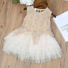 Lace Flower Girls Princess Kids Floral Sleeveless Pageant Tulle Tutu Party Dress