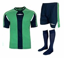 15 X Mens Small UMBRO Full Team Kit Strip Green Football Shirt Shorts Boys Kids