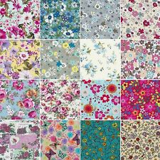 100% COTTON Fabric FLORAL Material Flowers ROSES craft by METRE & Fat Quarter