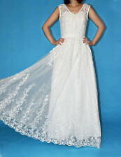 New Lace Applique Beaded Bridal Gown Wedding Dress Stock Size 4 6 8 10 12 14 16
