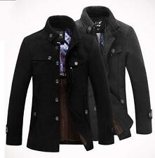Mens Casual Wool Jackes Pea Coat Winter Warm Trench Overcoat Outwears Size M-3XL