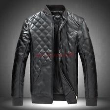 New Mens Fashion Slim Fit Motorcycle biker PU Leather Jacket Coat Bomber Black M