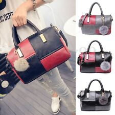 Women PU Leather Handbag Shoulder Bowling Crossbody Bag Tote Purse Satchel AU