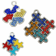 3Pcs Jigsaw Puzzle Piece Charms Autism Awareness Pendants Enamel Or Crystals