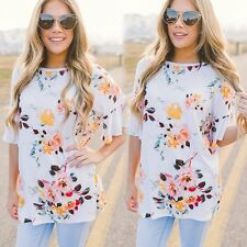 Ruffle Sleeve Women's Sexy Floral Printed Loose Casual T-shirt Long Blouse Tops
