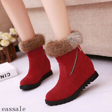 Winter Womens Shoes Warm Faux Suede Furry Ankle Boots Hidden Wedge Heel Boots