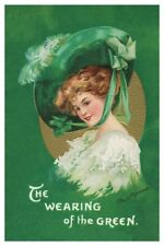 St Patricks Day Irish Colleen Wearin Of The Green Ellen Clapsaddle Poster