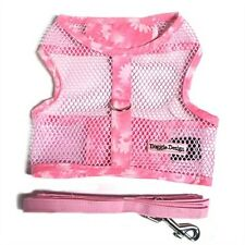 Pink Floral Cool Mesh Netted Dog Harness & Leash