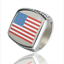 Biker 316L Stainless Steel United States American Flag Ring Mens Silver Sz 7-13