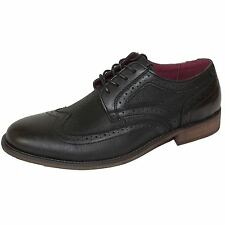 FRONT SHOES MADDOX MENS BLACK LEATHER BROGUES