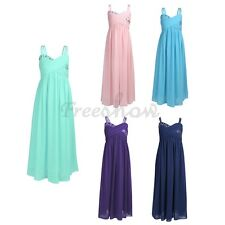 Girls Formal Chiffon Tulle Dress Wedding Prom Gown kids Bridesmaid Party Dresses