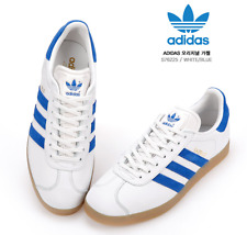 [adidas Originals] Gazelle Trainers in White Royal Leather Gum Sole S76225
