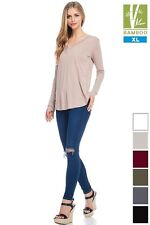 Womens Tanboocel Bamboo Tunic Solid Long Sleeve V-Neck Top 24229