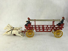 Vintage Cast Iron Horse Drawn Ladder Fire Cart Truck w/ Two Firefighters
