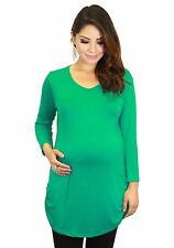 Green 3/4 Sleeve Pregnancy Fitted Solid Long Sleeve Maternity S M L XL