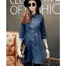 Korean fashion lapel flouncing denim dress - MX