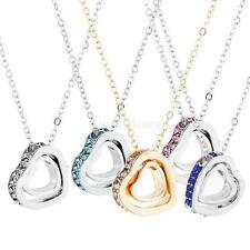 Fashion Rhinestone Double Heart Crystal Pendant Chain Necklace Jewelry