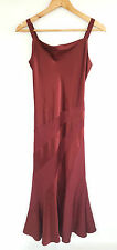 KALIKO DEEP RED WOOL & SILK SATIN BLEND PART SATIN STRAPPY FORMAL DRESS SIZE 8