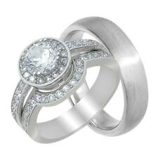 His and Hers 2.5 Carat CZ Engagement Wedding Ring Set for Him and Her
