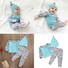 Newborn Baby Long Sleeve Top Pants Hat Trouser Infant Girl Boy Clothes Outfits