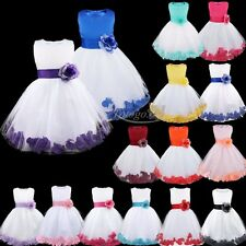Girl Petals Flower Formal Party Birthday Pageant Bridesmaid Wedding Dresses Gown