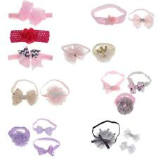 Baby Toddler Girl Flower Bowknot Lace Hairband Headband Elastic Bow Headwear Set