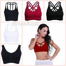 Lady Strappy Yoga Sports Bra High Impact Support Racerback Padded Top Vest