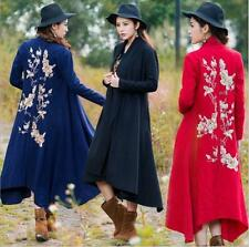 Womens Floral Embroider Long Trench Coat Wool Windbreaker Outwear Jacket Tops Sz