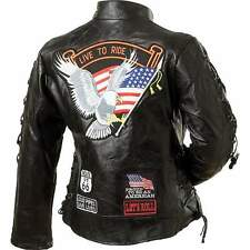 Diamond Plate Ladies' Rock Design Genuine Buffalo Leather Motorcycle Jacket