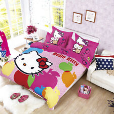 Bedding Hello Kitty Set Cover Quilt Duvet Bed Pillowcase Pink Kids 4 New Toddler