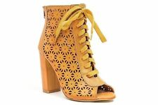 FRENCH BLU LACY TAN LASER CUTOUT PEEP TOE LACE UP THICK HEEL BOOTIE $89.99