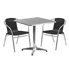 Skovde 27.5'' Square Aluminum Outdoor/Patio/Bar Table Set with 2 Rattan Chair