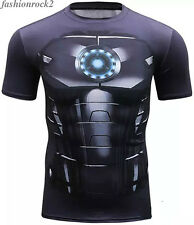 Mens Short Sleeve T-shirt Ironman Casual Sport Fitness Compression Tee Tops