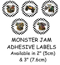 Personalised MONSTER JAM Self Adhesive Glossy Labels/Stickers