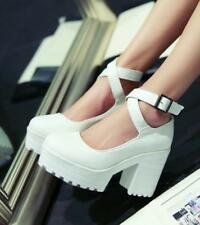 Stylish Womens Chunky Heel Platform Ankle Strap Mary Jane Pumps Sandals Shoe 567