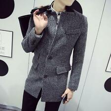 Men's Fashion Jacket Outwear Slim Long Woolen Trench Coat Korean Wind Coat Sizes