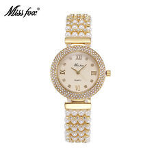 Luxury Women Jewelry Pearls Bracelet Watches Fashion Dress Quartz Wristwatch