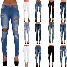 Womens Blue Ripped Knee Cut Skinny Jeans Slim Fit Ladies Denim Size 6 8 10 12 14