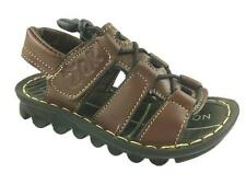 NEW BOYS FAUX LEATHER SUMMER HOOK AND LOOP STRAPPY SANDALS BROWN SIZE 8.5-4