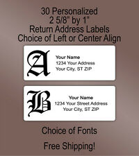 30 Personalized Printed Old English Gothic Monogram Return Address Labels