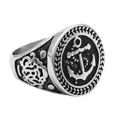 New Anchor Vintage Stainless Steel Men Punk Cool Rings Fashion Jewelry