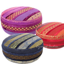 "24 X 10"" Large Brocade Round Ottoman Pouf Pouffe Cover Floor Seating Indian Bohe"