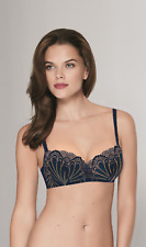 Wonderbra Refined Glamour Balconette Bra in Marine/Gold (W031O) *Sizes D-G*