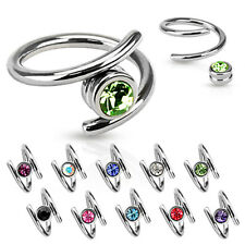 Surgical Steel Spiral Belly Button Ring w/ Captive CZ