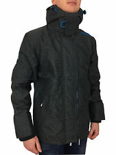 Superdry Pop Zip Arctic Windcheater Hooded Coat in Black Marl Aqua XL