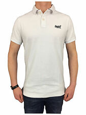 Superdry Mens Size Medium Classic Fit Pique Polo Shirt in Optic White