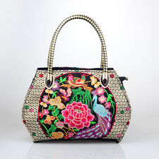 Ethnic Style Women Embroidery Handbag Floral Shoppers Totes Charm Shoulder Bags