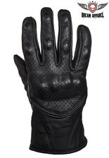 Mens Perforated Short Racing Premium Leather Gloves With Hard Knuckles S-4XL