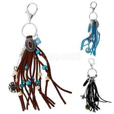 Vintage Turquoise Tassels Pendant Key Ring Keychain Split Rings B-day Gadget